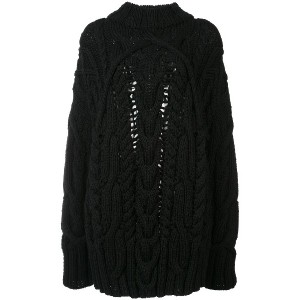 Vera Wang fisherman knit pullover - ブラック