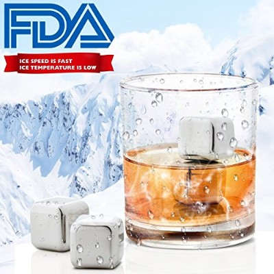 (Silver) - Chilling Stones Reusable Stainless Steel Ice Cubes Wine Chiller Cooler Chilling Rocks...