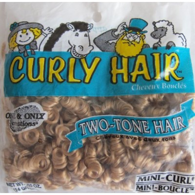 One & Only Craft 'MINI CURL' CURLY DOLL HAIR Pack .1480ml STRAWBERRY & SANDY Colour TWO TONE DOLL...