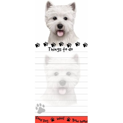 Westie Magnetic List Pads Uniquely Shaped Sticky Notepad Measures 8.5 by 3.5 Inches by E&S Pets