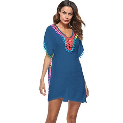 (Free Size, Blue) - Forthery Summer Women's Bathing Suit Cover Up Beach Bikini Swimsuit Hollow Out...