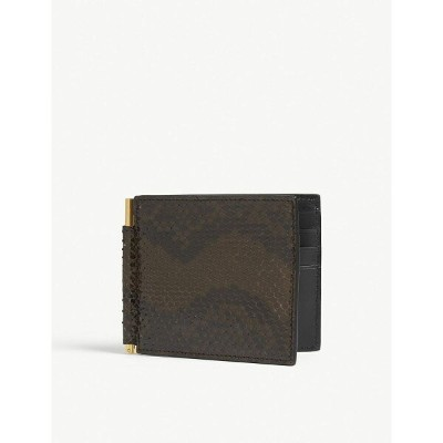 トム フォード tom ford メンズ マネークリップ【python-skin money clip wallet】Military