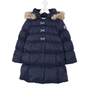 Miki House bow embellished padded coat - ブルー
