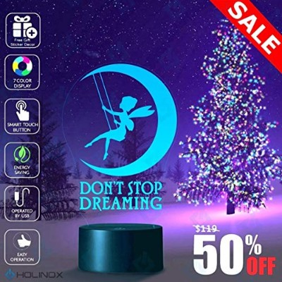 Don't Stop Dreaming, Dream lamp, Fairy and moon decoration, Kids Nightlight, Best Christmas Gift,...