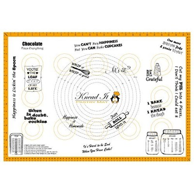 "Knead It Extra Large Silicone Pastry and Baking Mat with Measurements and Conversion Charts 26""x18""..."