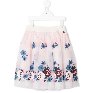 Simonetta floral embroidered tulle skirt - ピンク