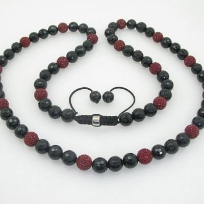 IcedTime Mens beaded rosary chain crystal gemstone bracelet ball pave macrame necklace red and...
