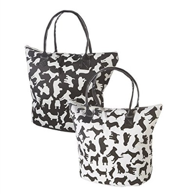 "Insulated Tote Bag with Dog Puppy Breed Silhouettes 17 "" x 13 "" x 6 ""ブラックとホワイト"