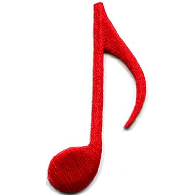 Eighth note red musical quaver music classical symphony embroidered applique iron-on patch by...