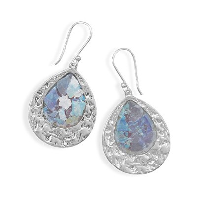 Ancient Roman Glass Earrings Teardrop Shape Textured Hammered Sterling Silver