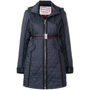 Hunter quilted zipped coat - ブルー
