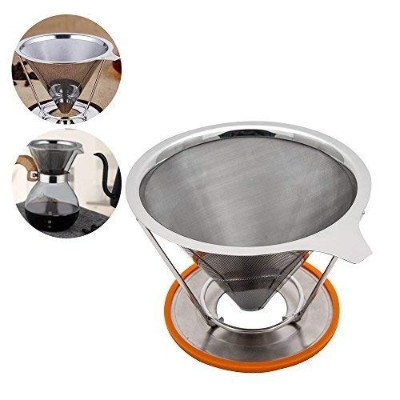 TOPHOMER Pour Over Coffee Cone Dripper - Stainless Steel Coffee Maker - Double Mesh Reusable Filter...