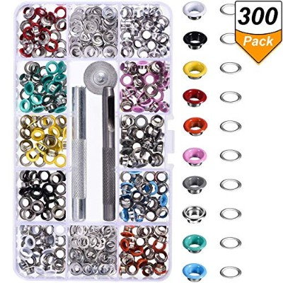 (3/ 41cm) - Bememo 300 Pieces Grommets Kit Metal Eyelets Shoes Clothes Crafts, 10 Colours (0.5cm)