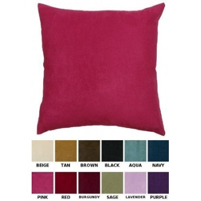 (Pink) - DreamHome - Solid Faux Suede Decorative Pillow Cover/Sham, 46cm X 46cm, Available in 12...