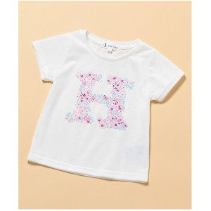 【SALE 40%OFF】ROPE' PICNIC KIDS 【ROPE' PICNIC KIDS】アルファベット花柄Tシャツ(ピンク(63))【返品不可商品】