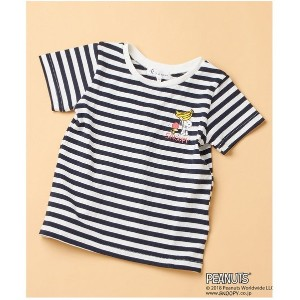 【SALE 60%OFF】ROPE' PICNIC KIDS 【ROPE' PICNIC KIDS×PEANUTS(SNOOPY)】ボーダーTシャツ(ネイビー(40))【返品不可商品】