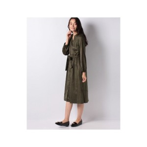 【SALE 30%OFF】Doux archives 切替前開きワンピース(カーキ)【返品不可商品】
