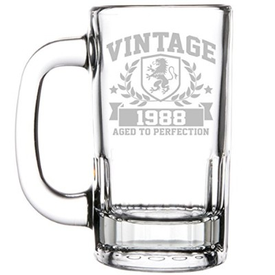 350ml Beer Mug Stein Glass 30th Birthday Vintage Aged To Perfection 1987