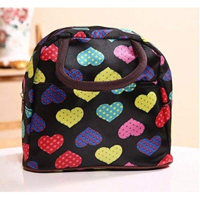 (Black with Lover Heart) - 3s Picnic Lunch Bag Tote Bag Lunch Organiser Lunch Holder Lunch...