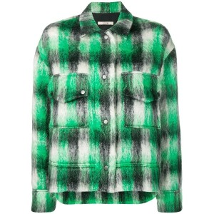 Odeeh cropped check jacket - グリーン