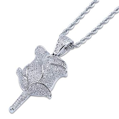 JINAO Hip Hop Jewelry Rose Necklace ローズ バラ ネックレス 18Kゴールドメッキ キュービックジルコニア ヒップホップネックレス (Silver)