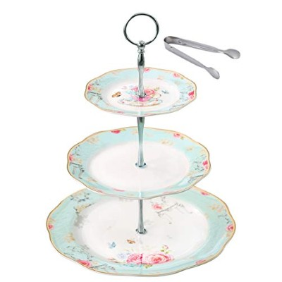 Jusalphaライトブルー3層セラミックケーキstand-カップケーキstand- Tea Party Pastry Serving Platter inギフトボックスfd-qd3t