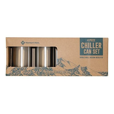 4 Piece Chiller Can Set - For 350ml Cans - Lightweight 18/10 Stainless Steel (Double Wall Vacuum...