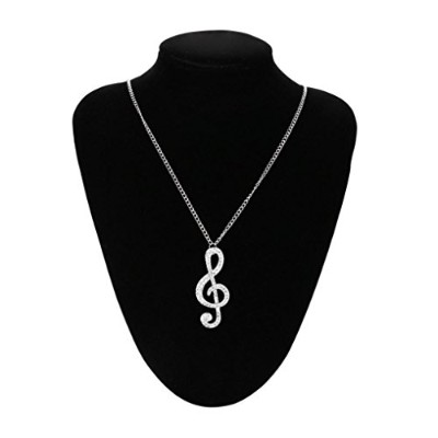 botrongレディースCrystal Music Noteペンダントチェーンセーターネックレス Necklace length: 70cm シルバー