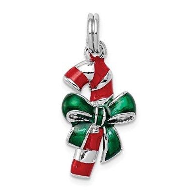 Beautiful Sterling silver 925 sterling Sterling Silver Rhodium-platedEnamel Candy Cane Charm comes...