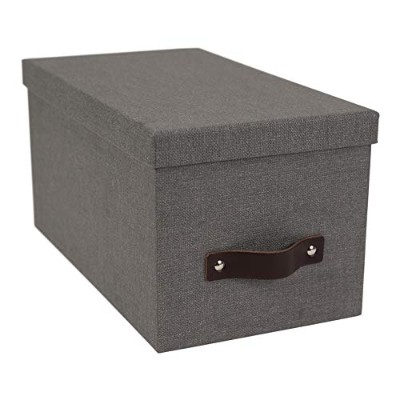 Bigso Silvia Canvas Paper Laminate Media Box, Grey by Bigso