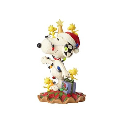 enesco 置物 カラフル W9.5×H16.3×D10cm Snoopy Being Decorated Bulb 6000986