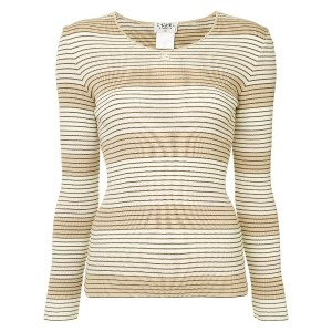 Chanel Vintage striped ribbed top - ブラウン