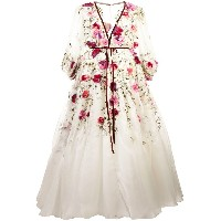 Marchesa flared floral gown - ホワイト