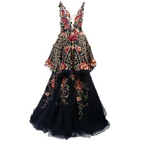Marchesa embroidered appliqué gown - ブルー