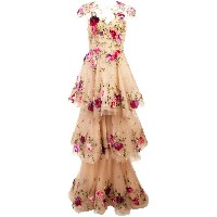Marchesa layered floral gown - ニュートラル