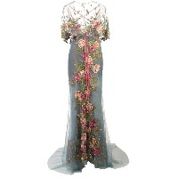 Marchesa embroidered floral gown - ブルー