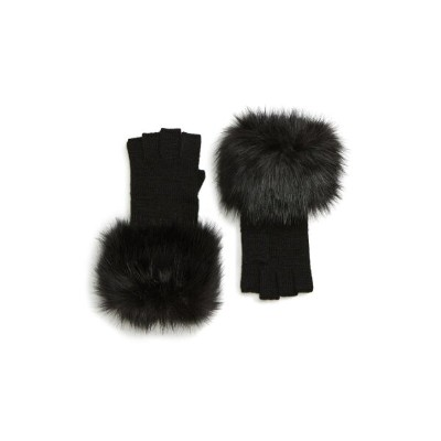 マイケルコース レディース 手袋 アクセサリー MICHAEL Michael Kors Fingerless Gloves Black Faux Fur Black Knit