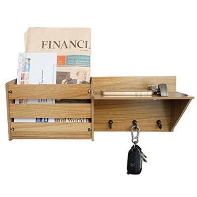 (Dark Brown) - ChasBete Wall Shelf Mail Organiser with 3 Metal Hooks Wall Mounted Rustic Mail Slot...