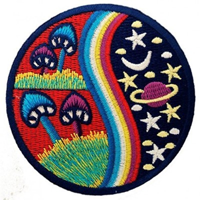 Stoner Beautiful Mushroom High Hippie Patch ''8 x 8 cm'' - Embroidered Iron On Patches Sew On...