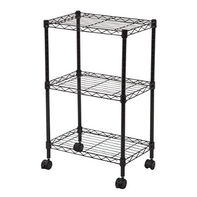 "Wire 3-Tier Shelf with Casters, black by ""IRIS USA, Inc."""
