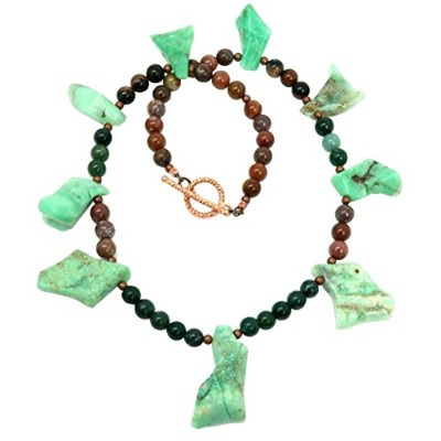 """satincrystals Chrysopraseネックレス21"""" Specialty one-of-kind Green Moss Agate Earthyストーンビーズレッドジャスパーs02"""