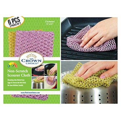 Non-Scratch HEAVY DUTY Scouring Pad or Pot Scrubber Pads (3 Pks of 2)   For Scouring Kitchen,...
