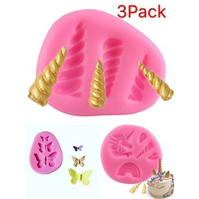 (3pack) - 3 Pack Unicorn Horn Ears and Eyelash Butterfly Set Silicone Cake Topper Moulds Fondant...