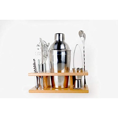 Taylor & Sons 9 Piece Stainless Steel Bartender Set with Wooden Base Kitchen Accessories Cocktail...