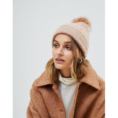 エイソス レディース 帽子 アクセサリー ASOS DESIGN fluffy beanie with faux fur pom Stone