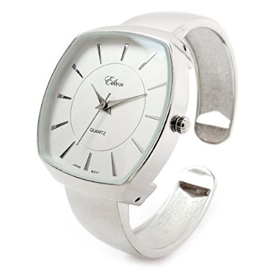 STC Brushed Nickel Finish Large Dial Women 's Bangle Cuff Watch
