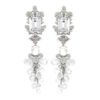 Spectacular Long Dangle Earrings w /ホワイトCZs