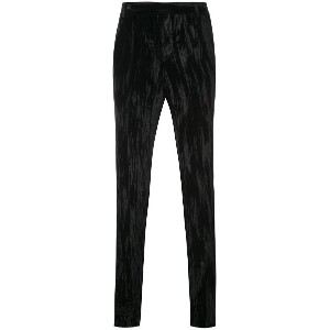 Saint Laurent crinkled velvet trousers - ブラック