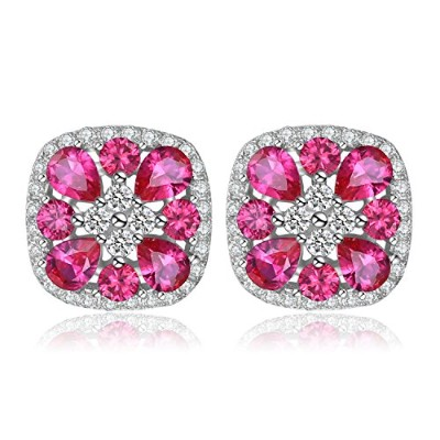 jewelrypalace Classical 2.8CT Created Rubyスタッドイヤリング925スターリングシルバー