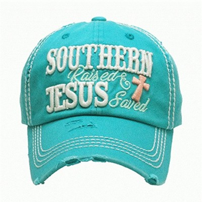 hbs001 Southern Raised and Jesus savedブルー/グリーンヴィンテージ野球キャップ。